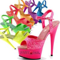 Delight-609UVG * Neon Color Ankle Strap Platform Sandal