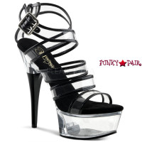 Captiva-658, 6 Inch High Heel with 1.75 Inch Platform Two Tone Strappy Wrap Around Sandal