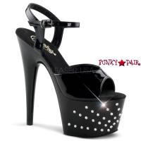 Starburst-709, 7 inch high heel with 2.75 inch platform  Ankle Strap Rhinestones Starburst Sandal
