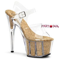 Adore-708CK, 7 Inch Stiletto Heel Cork with Ankle Strap Sandal