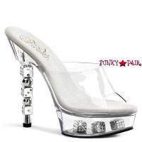 Dice-601-2, 7 Inch High Heel with 2.75 Inch Platform Slide Dice Heel with Dice