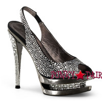 Fascinate-654SL, 6 Inch High Heel with 1.5 Inch Dual Platform with Rhinestones