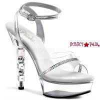 Dice-614, 5.5 Inch High Heel with 1.5 inch Platform Wrap Around Ankle Strap Sandal with Dice Heel