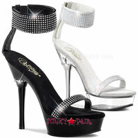 Allure-640, 5.5 Inch High Heel with 1.5 Inch Platform with Wide Ankle Cuff with Rhinestones Sandal