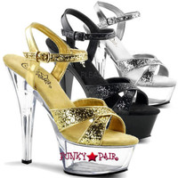 Kiss-219G, 6 Inch High Heel Glitter Criss Cross Ankle Strap Sandal