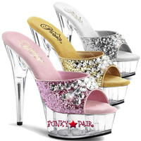 Delight-601BJ * Platform Slide with Rhinestones Embellished on Upper Strap
