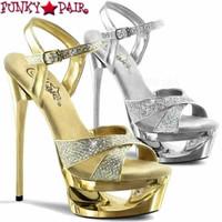 Eclipse-619G, 6.5 Inch Stiletto Heel Platform Glitter Sandal
