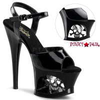 Moon-709SK, 7 Inch High Heel with 2.75 Inch Platform Cut Out with Skull and Ankle Strap
