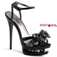 Blondie-R-618, 6 inch high heel with 1.5 inch dual platform Ankle Strap Sandal with Rhinestones Bow