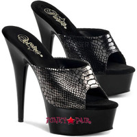 Delight-601SP, 6 Inch High Heel with 1.75 Inch Platform Snake Print  Slide