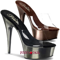Delight-601BR, 6 Inch High Heel with 1.75 Inch Platform Slide Clear Strap