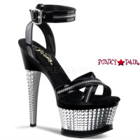 Illusion-653, 6.5 Inch  Wrap Around with Zipper and Textured Heel Sandal