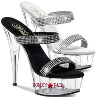 Delight-602-8 * Two Band Slide Platform with Rhinestones