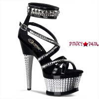 Illusion-654, 6.5 Inch Textured Heel with Studds and Ankle Cuffs