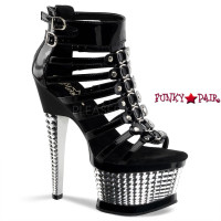 Illusion-660,  6.5 Inch High Heel Platform Dual Buckle Ankle Strap