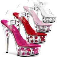 Delight-608FL * Clear ankle Strap with Flower Filled Platform Shoes