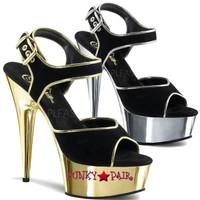 Delight-609-15, 6 inch stiletto heel with 1.75 inch platform Chrome Ankle Strap Sandal