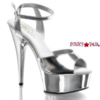 Delight-672CH, 6 inch stiletto heel with 1.75 inch platform Wrap Around Chrome Sandal