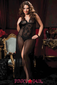 <p>Mesh floor length gown lace triangle cup adjustable straps lace front panel center slit and thong</p>