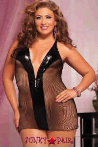 Fishnet chemise, lame panels, silver zipper front, adjustable straps and thong