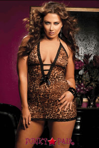 Leopard print mesh chemise, halter tie, plunging V-neck, lace trim and thong