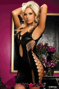 Seamless dress, large fishnet side panels and details with front and back keyholes