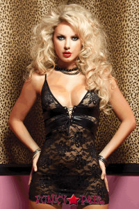 Lame and lace chemise, lame insets, triangle cups, adjustable grommet lace-up front and back, adjustable straps, and thong