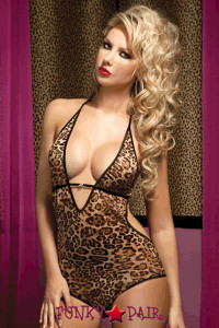Leopard print mesh teddy, rihnestone buckle, satin ribbon back ties, elastic binding and keyhole back