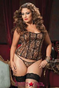 <p>Leopard print microfiber corset, zipper front, grommet lace-up back, boning removable garters and thong</p>