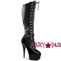 Delight-2038, 6 inch high heel platform knee high boots with d-ring front lace up