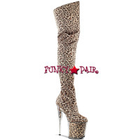 Flamingo-3010, 8 inch high heel with 4 inch platform with leopard print thigh high boots * Made by PLEASER Boots