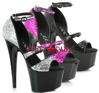 709-Samie, 7 Inch High Heel with 2.75 Inch Platform Glitter Shoes Made By ELLIE Shoes