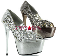 607-Rosafina, 6 inch high heel with 1.75 inch platform rhinestones lattice pump Made by ELLIE Shoes