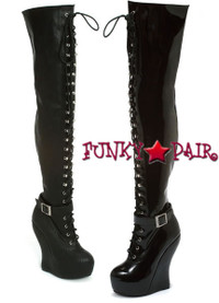 BP588-Ophelia, 5.5 inch wedge thigh high boots * Made by Bettie Page Shoes