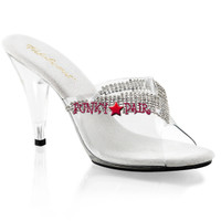 Caress-401-5, 4 inch high heel slide with rhinestones Made By PLEASER