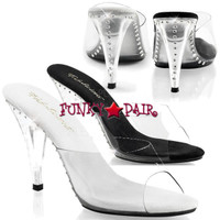 Caress-401FL, 4 inch high heel mule with rose in heel Made By PLEASER Shoes