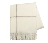 ECRU WINDOWPANE CASHMERE THROW