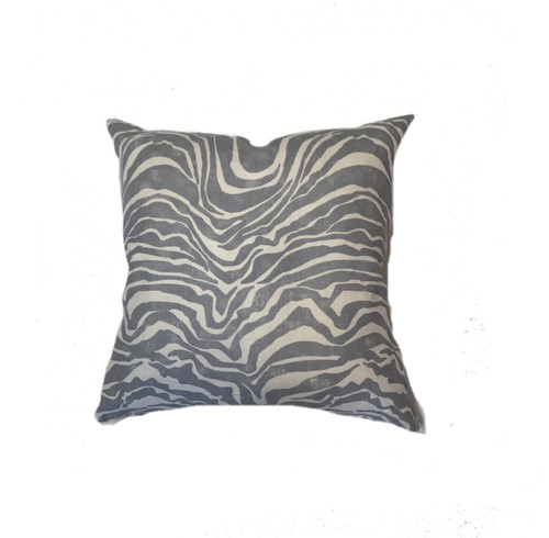 Zebra Pillow in Gray and White Donna Donaldson Home Interiors