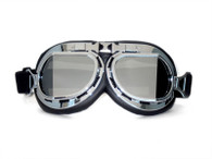 Aviator Goggle - Black/Chrome - Mirrored Angled Lens