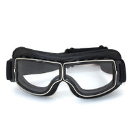 RBG Italia vintage style motorcycle goggles in Black with Clear Lens.
