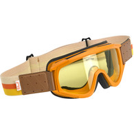Biltwell Overland Motorcycle Goggles in Brown/Orange with Yellow Lens