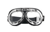Aviator Goggle - Black/Chrome - Clear Lens
