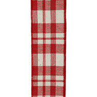 "Red Plaid Wired Ribbon - 2-1/2"" x 10 yds"