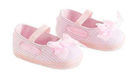 Baby Girls Pink Stripe Maryjane Shoes (12-18 months, Pink)
