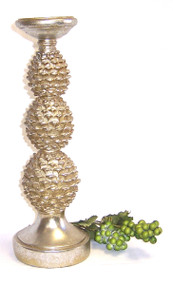 "14"" Silver Gold 3 Tier Pinecone Pillar Candle Holder"