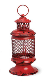 Red Iron Basket Lantern
