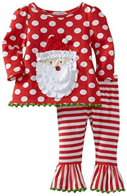 Mud Pie Baby Girls' Santa Tunic And Leggings Set, Multi Colored, 9 12 Months