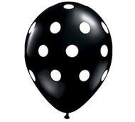"11"" Black & White Polka Dot Latex Balloon - Set of 6"