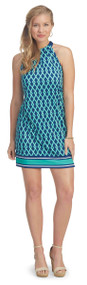 Mud Pie Natalie Poly Jersey Bow Tie Dress 8503094 (Large, Kelly Green/Navy Lattice)