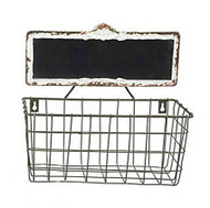 Rectangular Metal Basket with Chalkboard
